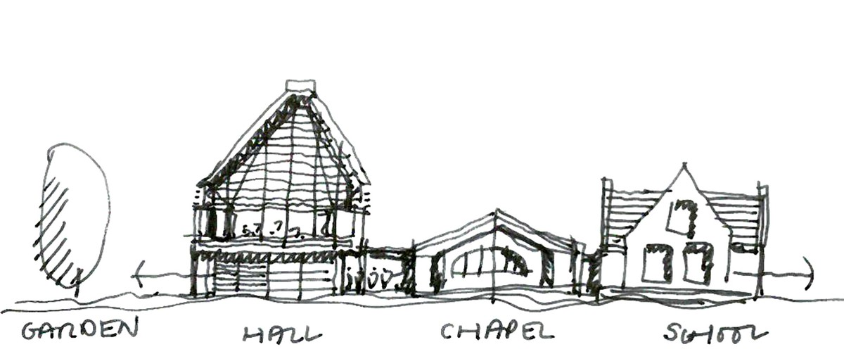 Concept sketch illustrating the relationship between the new hall and its context