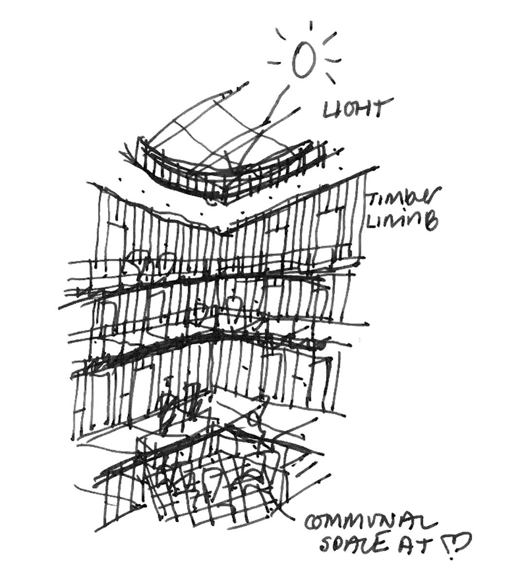Concept sketch for the Music School's atrium