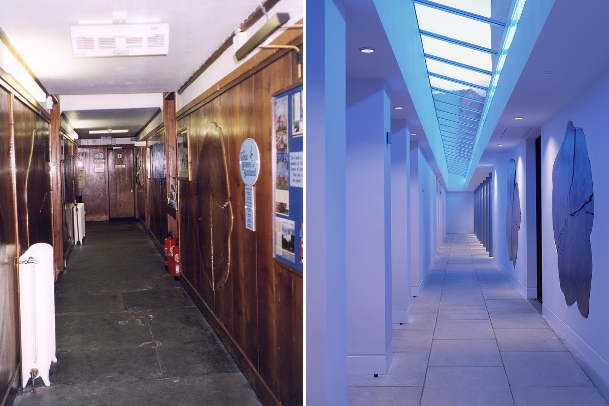 Views of the toplit corridor before and after the work