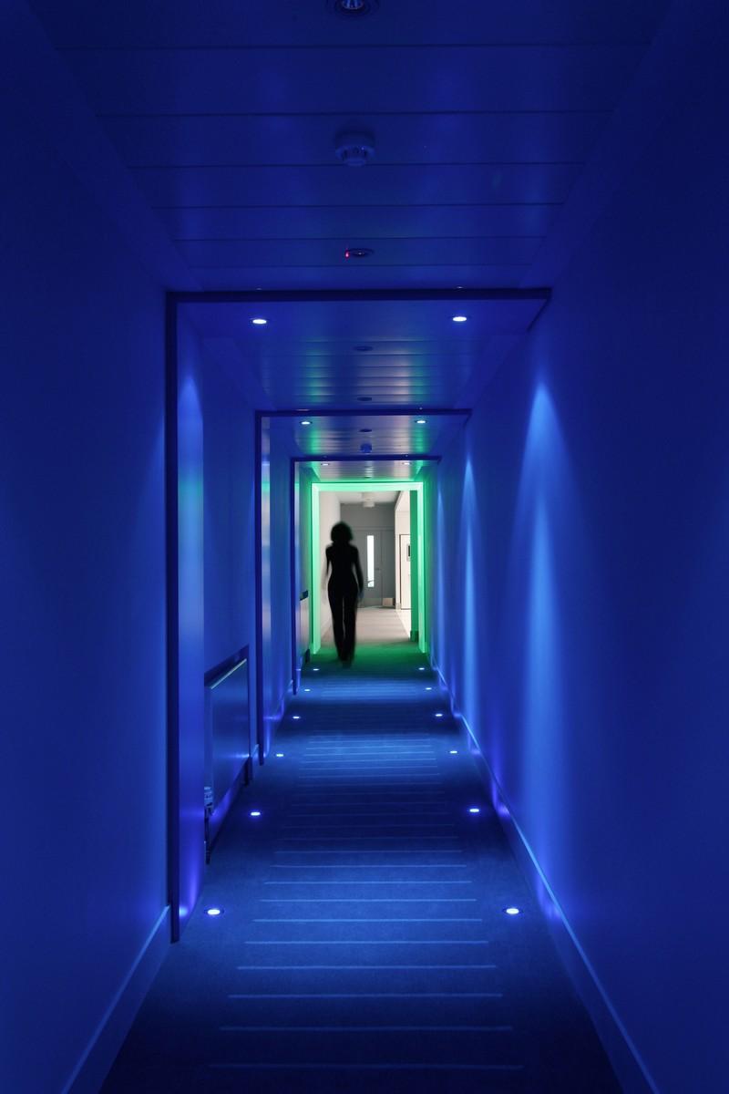 Blue lit corridor
