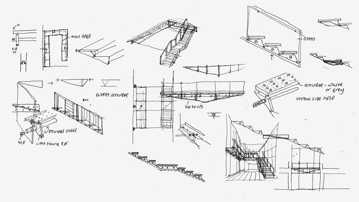 Cantilevered stair concept sketches