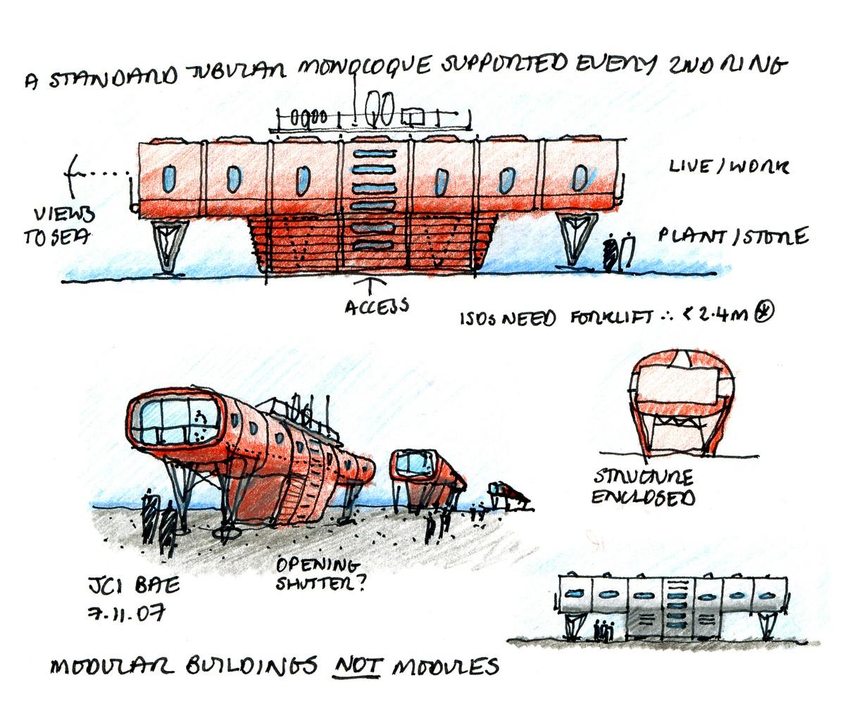 Concept sketch for Juan Carlos 1 Spanish Antarctic Base