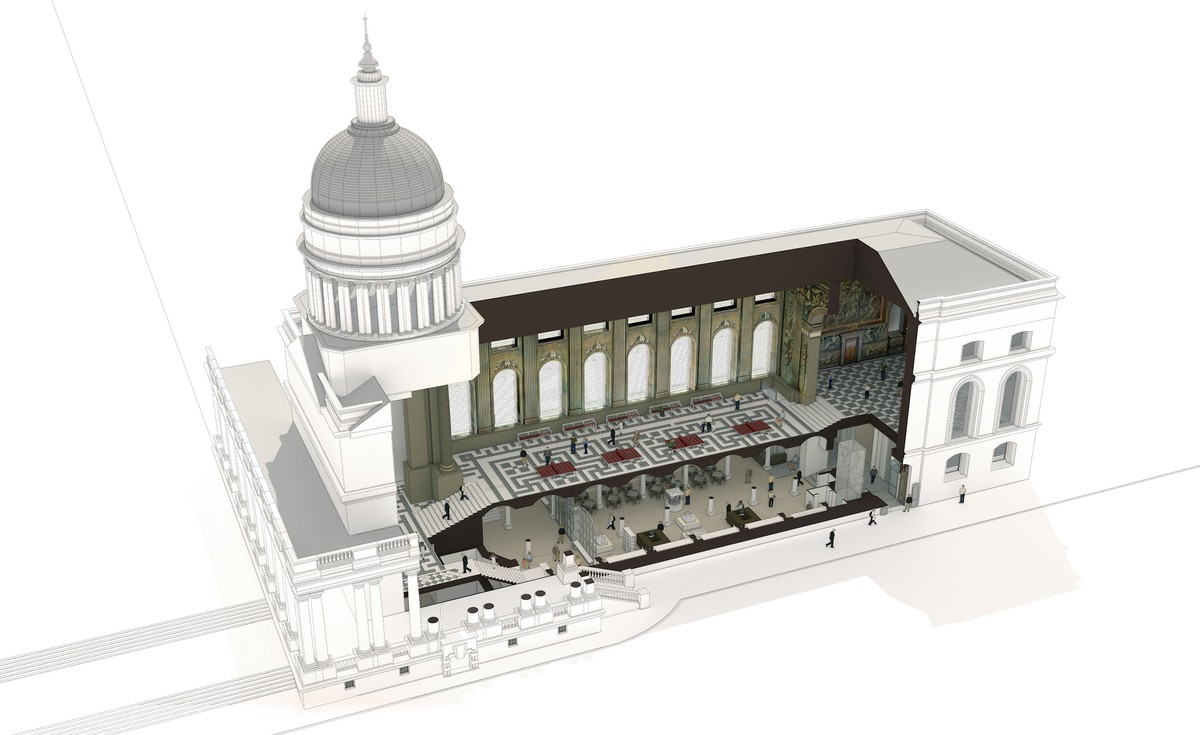 Cut-away view of the project for The Painted Hall in Greenwich