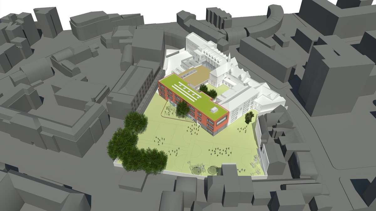 Aerial CGI showing the Lower School Block and external play facilities