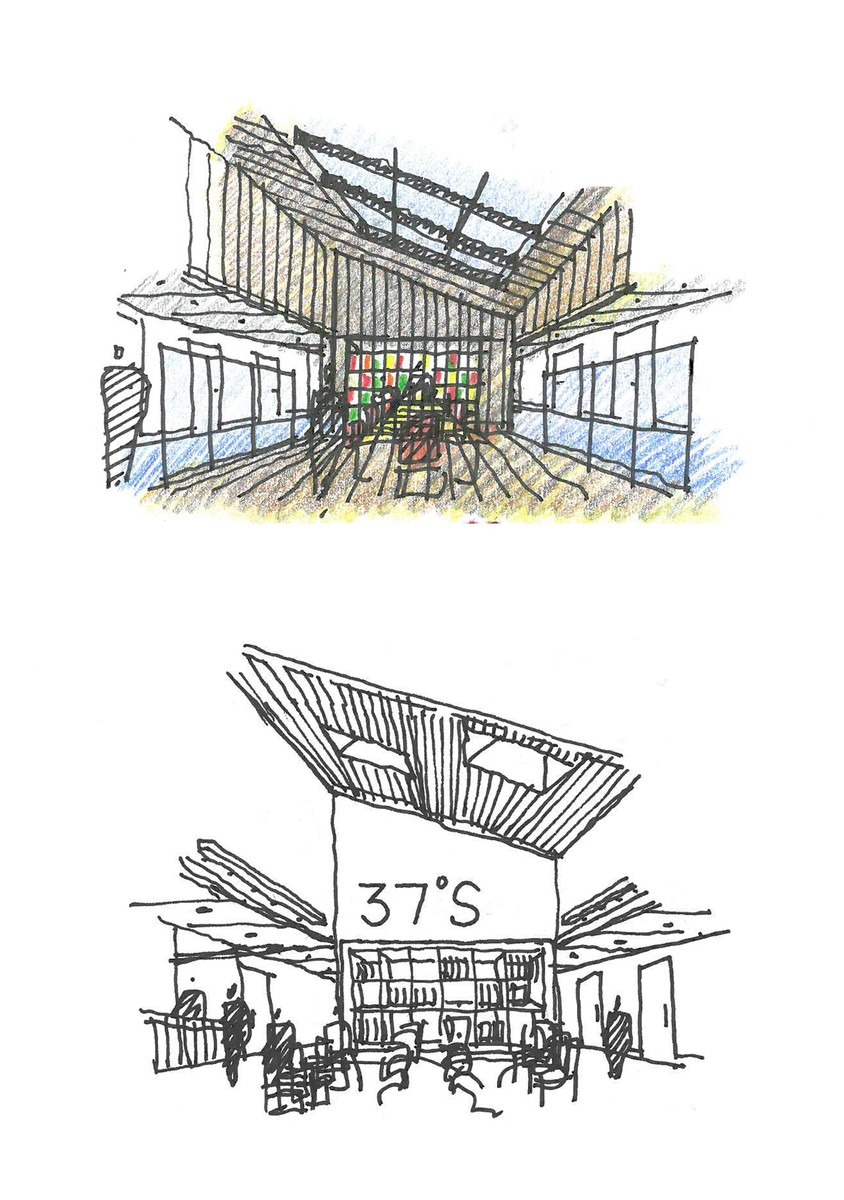 Concept sketches for the family room (above) and the waiting area (below)